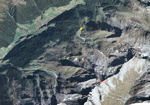 Aerofotografia: Campo neve Predoi Malga Merbe