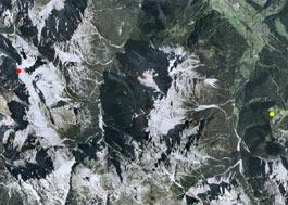 Aerofotografia: Campo neve Sesto Prati di Croda Rossa
