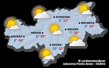 Südtirols Wetterbericht für heute