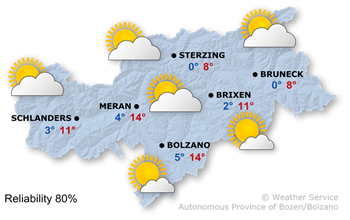 Weather conditions in South Tyrol today