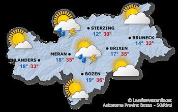 Wettervorhersage Südtirol 22.06.2017