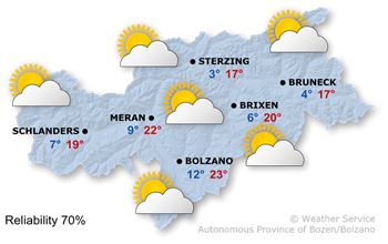 Forecast for today, Monday 25.09.2017