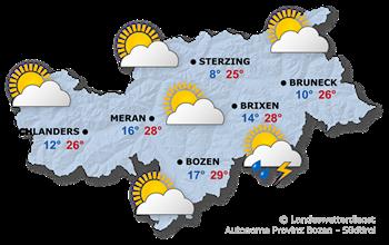 Wettervorhersage Südtirol 26.05.2018