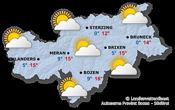 Wetterkarte Südtirol heute