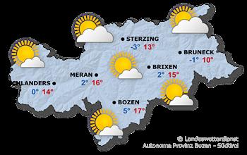 Allgemeine Wetterlage in Südtirol morgen