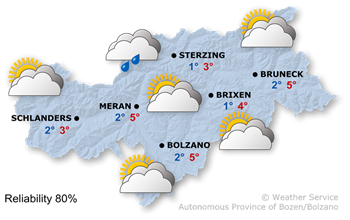 Weather conditions in South Tyrol tomorrow