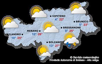 Il tempo in generale in Alto Adige domani