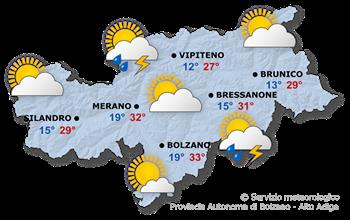 Carta meteorologica per oggi