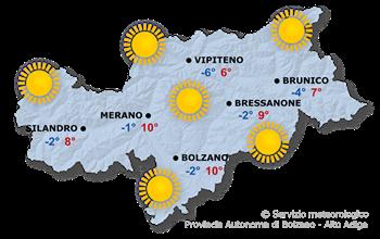 Mappa meteo Alto Adige oggi