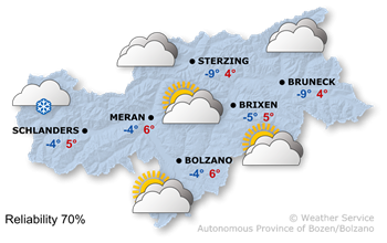 Weather Map South Tyrol tomorrow