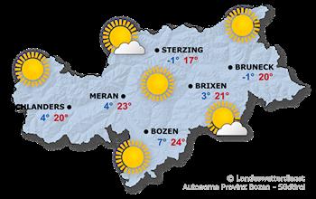 Wettervorhersage Südtirol 23.04.2021