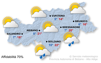 Mappa meteo Alto Adige domani