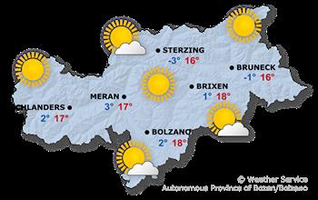 Weather Map South Tyrol tomorrow