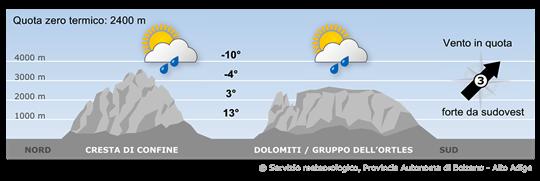 Bergwetter Südtirol / Dolomiten Martedi (25.04.2017)
